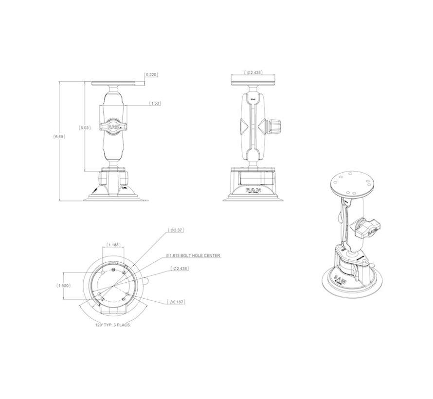 Zuignap combinatie montageset aluminium voor tablethouders