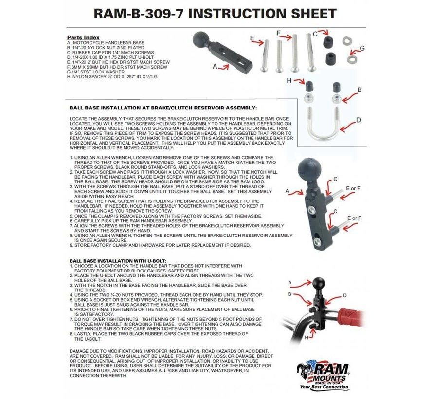Motorcycle Brake/Clutch Reservoir & Handlebar Ball Base  RAM-B-309-7U