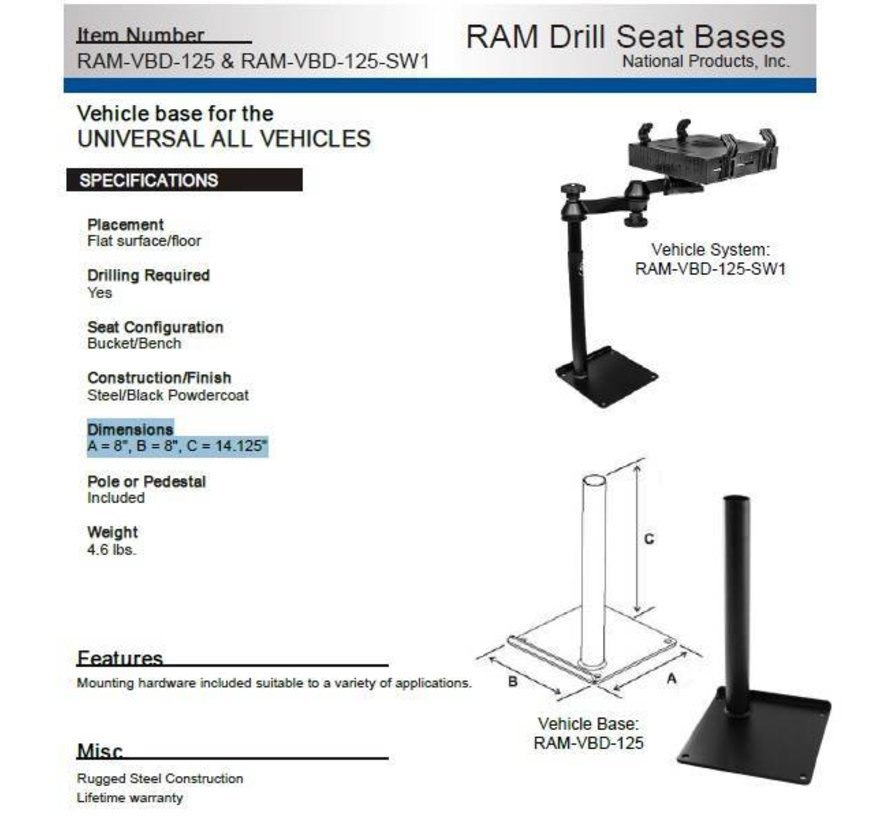 Universal Drill-Down Vehicle Laptop Mount  RAM-VBD-101-SW1