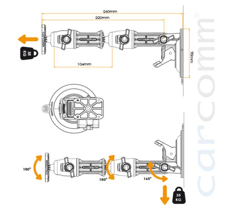 CSC-22 Heavy Duty Suction Mount AMPS – 260mm arm