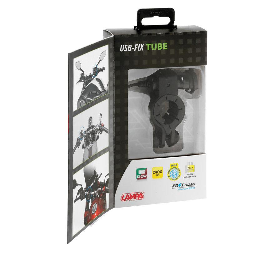 USB Fix Tube smartphone motorlader met stangmontage