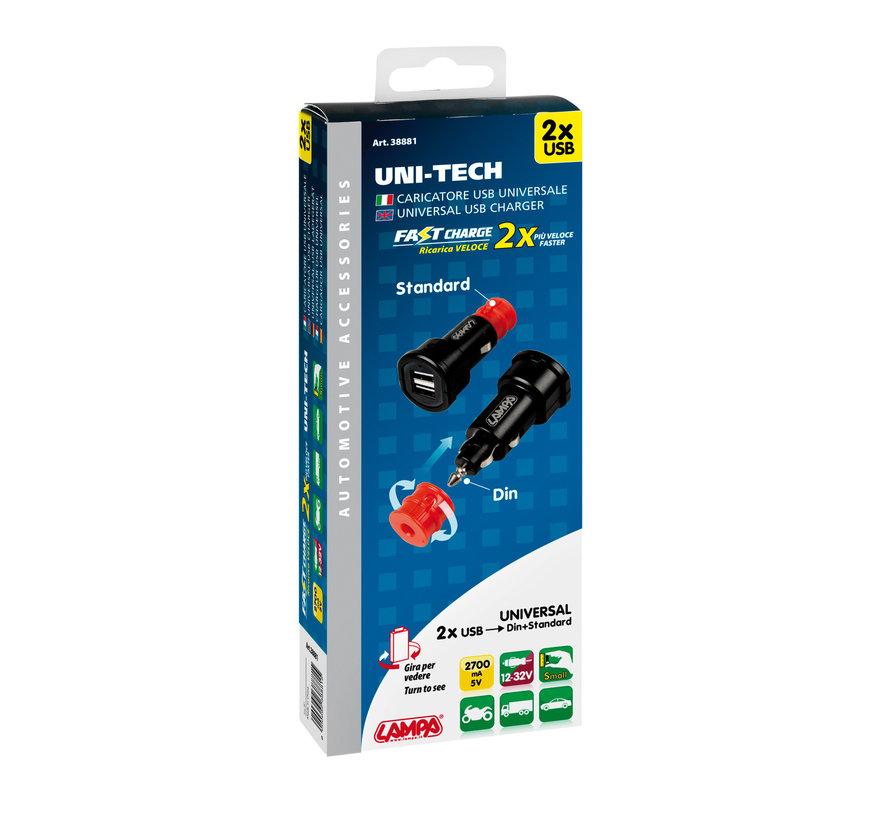 Uni-Tech Fastcharge dubbele USB-plug Din en standaard