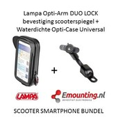 Lampa Opti-Arm scooterspiegel  mount met waterdichte smartphone case