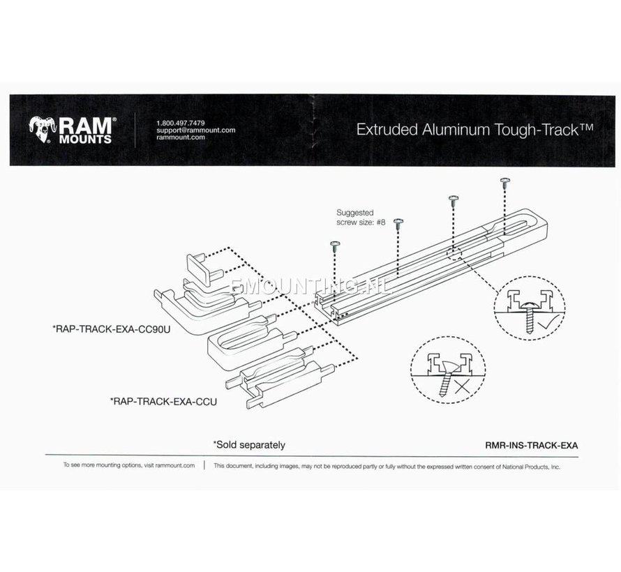 Tough-Track™ Aluminium Rail 127 mm RAM-TRACK-EXA-5Bu - Zwart