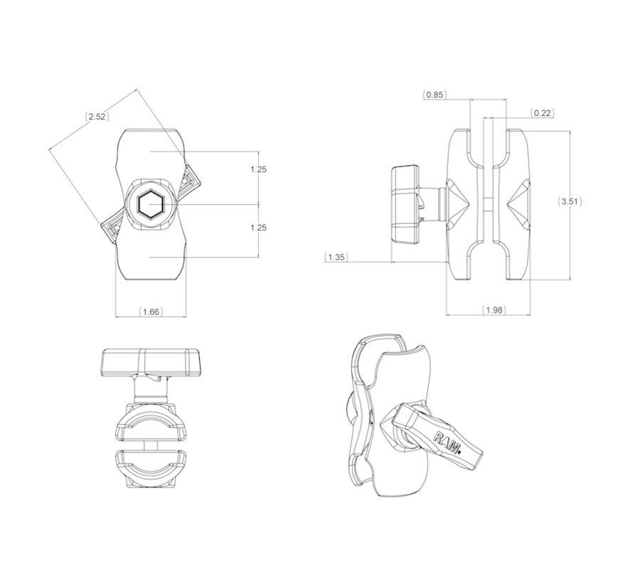 RAM-201U-B montage arm C kort