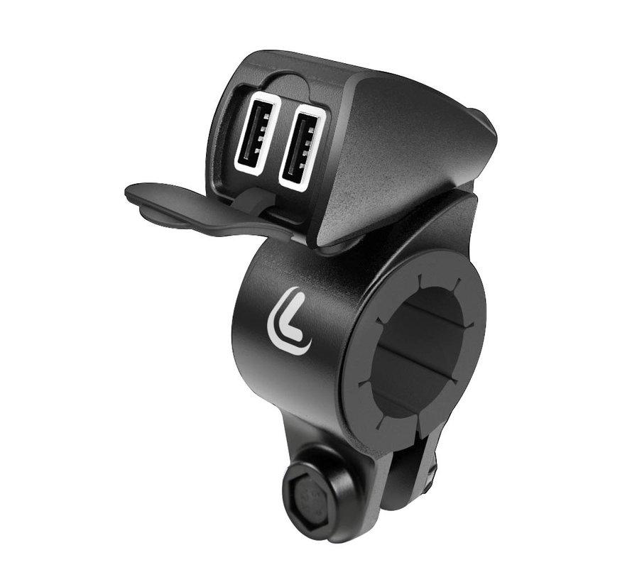 USB Fix Trek Double smartphone motorlader met stangmontage