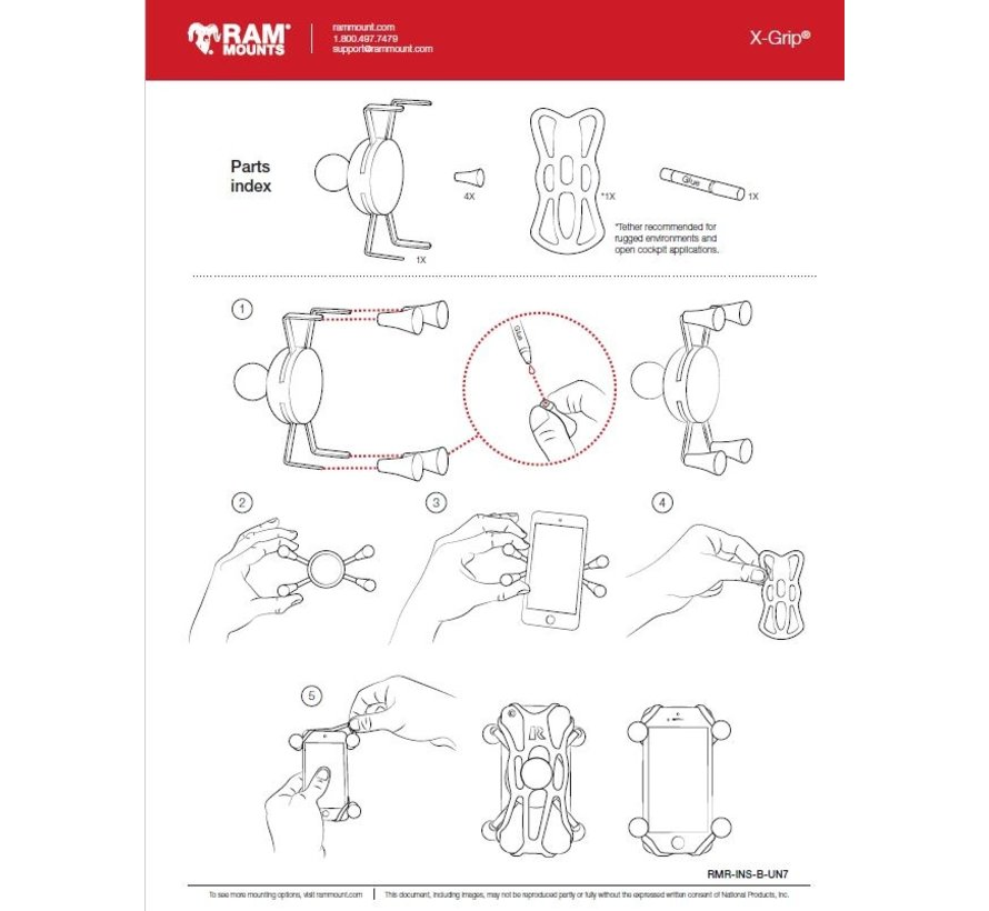 Tether voor UN10 X-Grip Houders