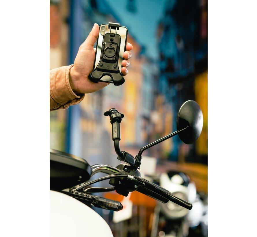 Opti-Arm scooterspiegel  mount met  universele smartphonehouder
