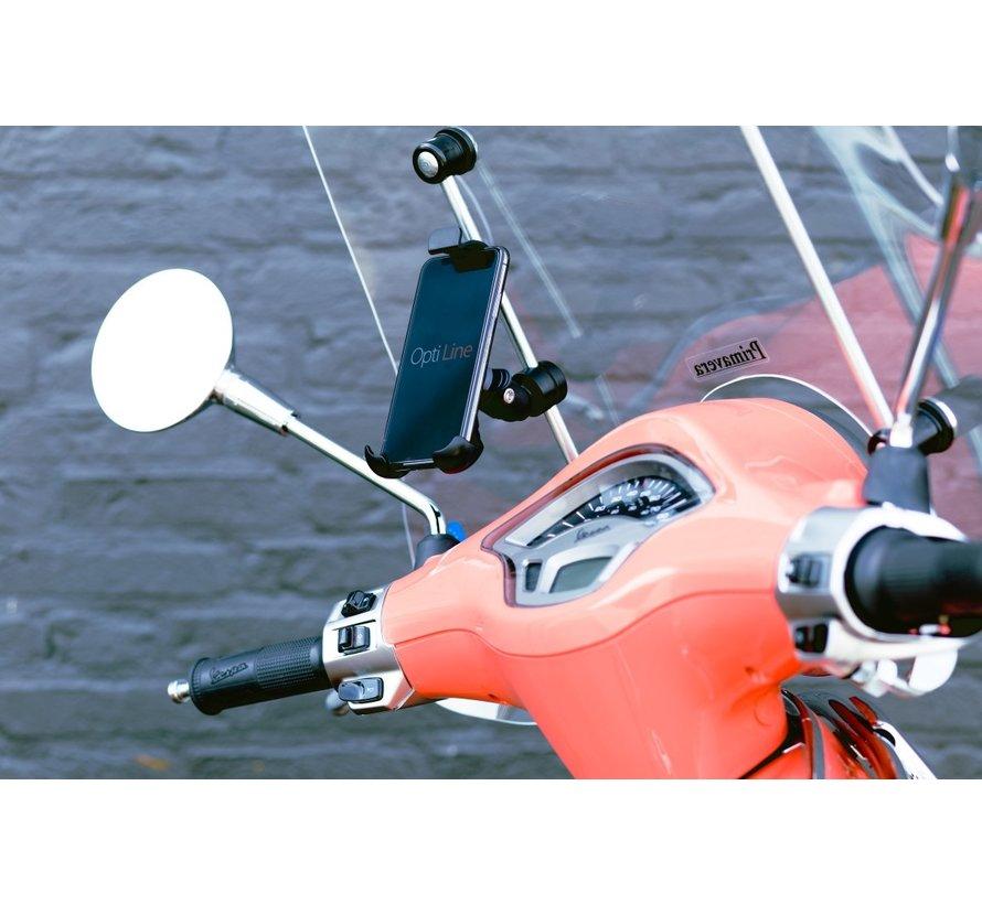 Opti-Line scooter windscherm-mount met universele smartphonehouder