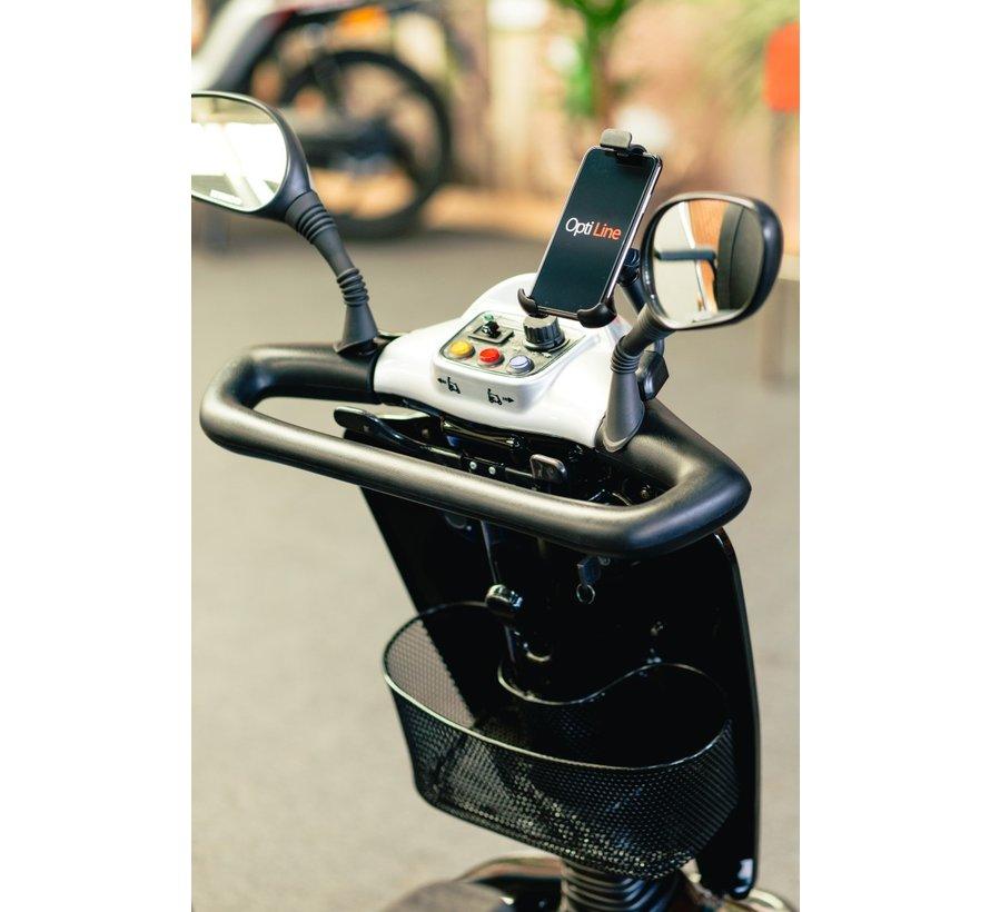 Opti-Line Scootmobiel  mount met  universele smartphonehouder