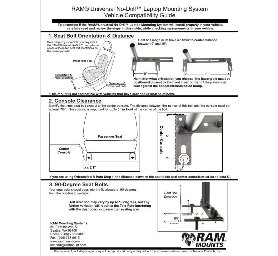RAM® No-Drill™ Universal Vehicle Floor Mount  RAM-VB-196-SW2
