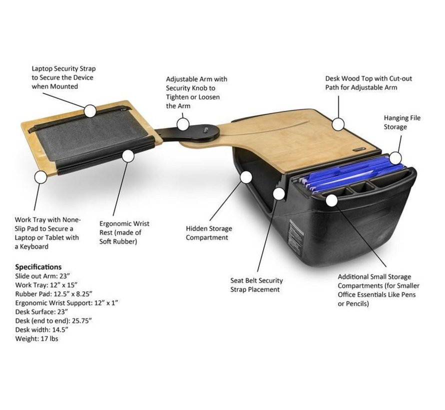 AutoExec Reach Desk mobiele laptop achterbank werkplek  - Mahonie-RHD