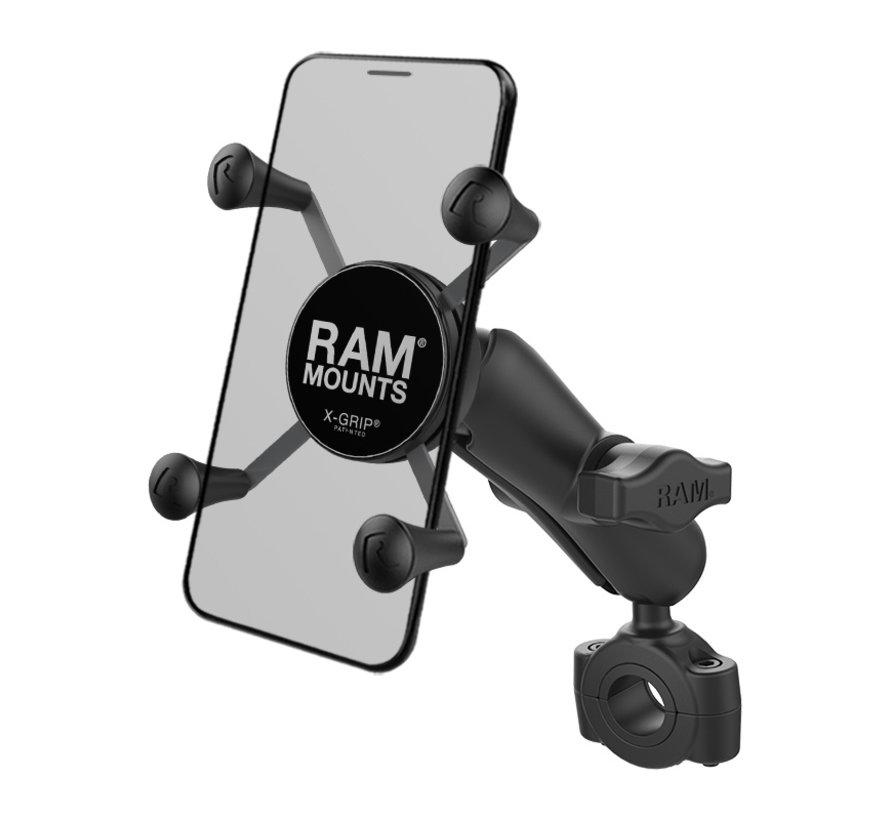 "Torque™ 3/4"" - 1"" Diameter Handlebar/Rail Base with 1"" Ball and X-Grip®"