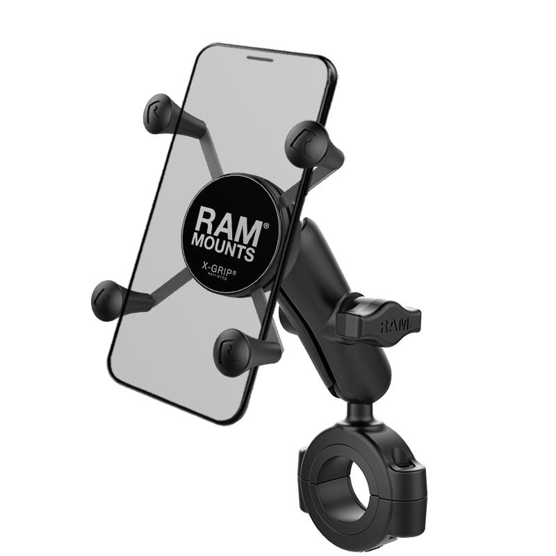 "RAM Mount Torque™ 1 1/8"" - 1 1/2"" Diameter Handlebar/Rail Base with 1"" Ball and X-Grip®"