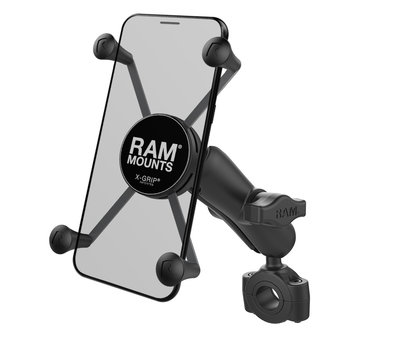 "RAM Mount Torque™ 3/4"" - 1"" Diameter Handlebar/Rail Base with 1"" Ball and X-Grip® for Larger Phones"