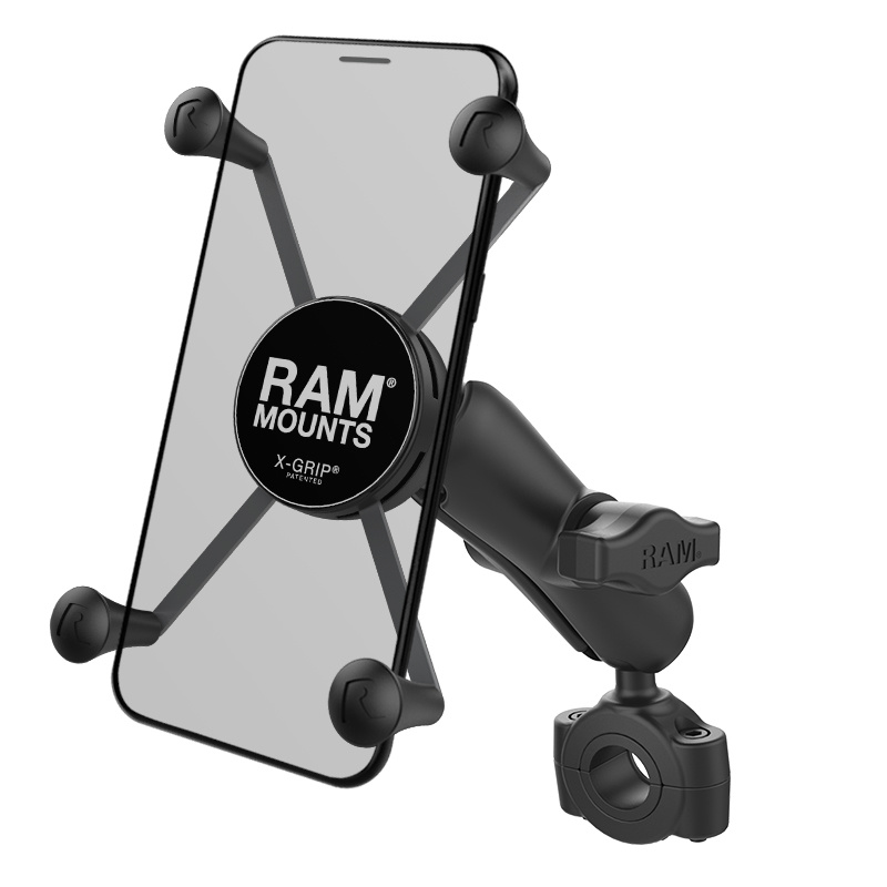 """RAM Mount Torque™ 3/4"""" - 1"""" Diameter Handlebar/Rail Base with 1"""" Ball and X-Grip® for Larger Phones"""