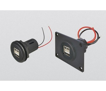 Power USB dubbel  2*2.5A inbouw (12-24 V DC)