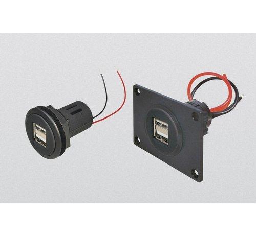 Power USB dubbel  2*2.5A inbouw