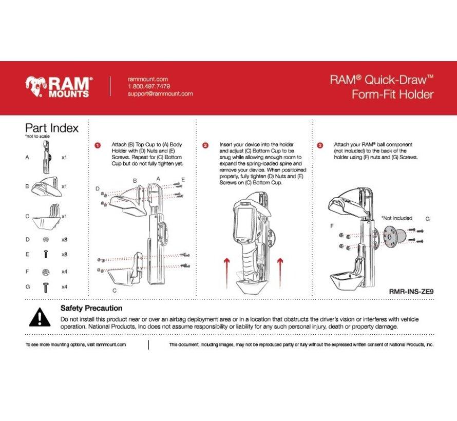 Quick-Draw™ Form-Fit Holder voor Zebra TC8000/8300 RAM-HOL-ZE9U