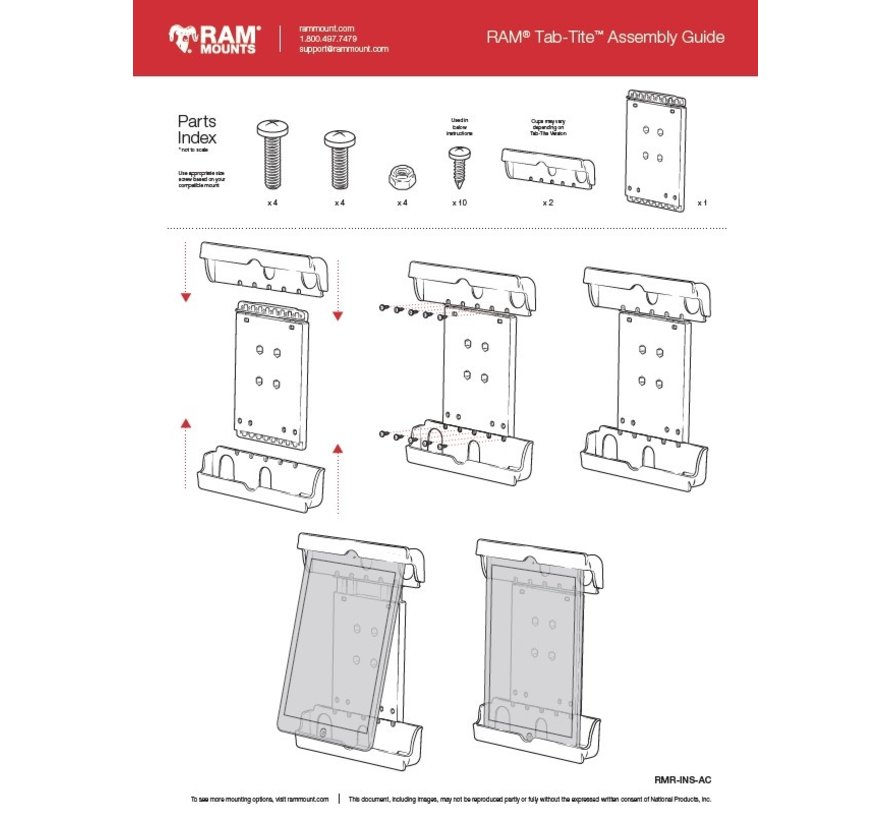 Tab-tite Samsung TAB A 10.1 dikke case montageset
