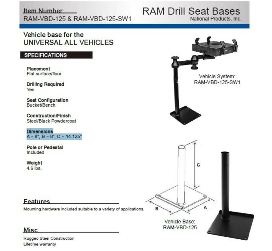 Universal Drill-Down Laptop Mount Base RAM-VBD-125