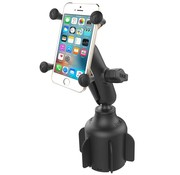 RAM Mount Stubby™ Cup Holder base met X-Grip smartphone RAP-B-299-4-UN7U
