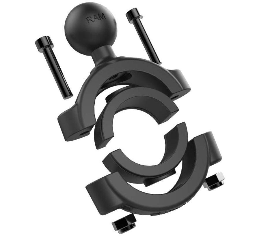 "Torque™ 1 1/8"" - 1 1/2"" Diameter Handlebar/Rail Base with 1"" Ball and X-Grip®"