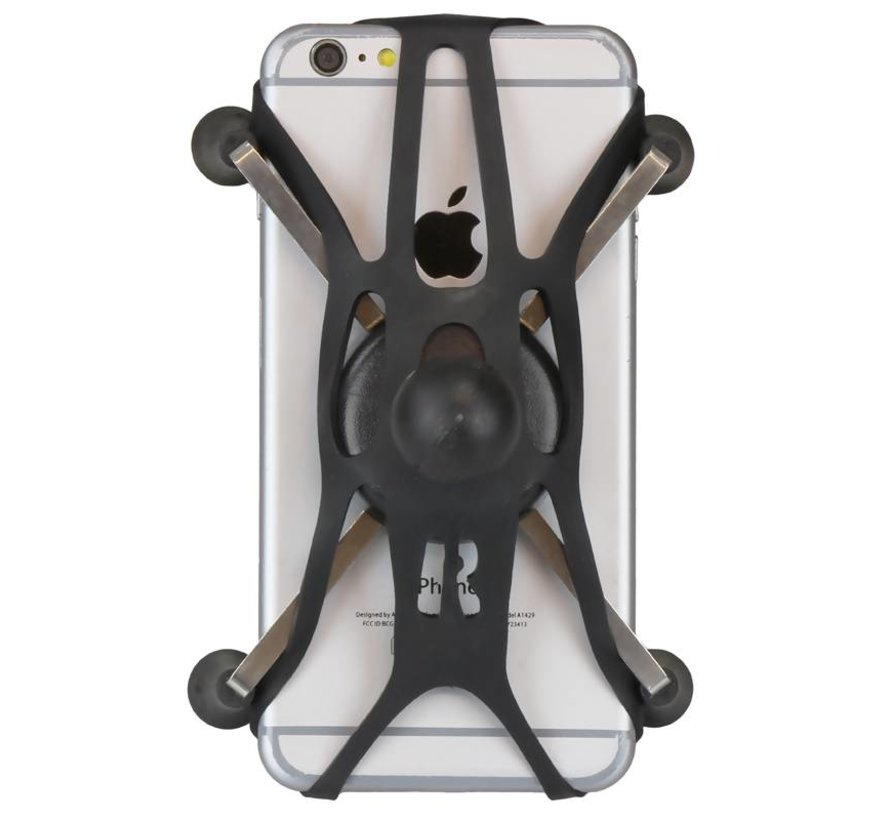"Torque™ 3/4"" - 1"" Diameter Handlebar/Rail Base with 1"" Ball and X-Grip® for Larger Phones"