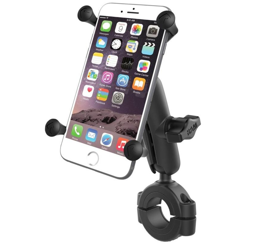 """Torque™ 1 1/8"""" - 1 1/2"""" Diameter Handlebar/Rail Base with 1"""" Ball and X-Grip® for Larger Phones"""