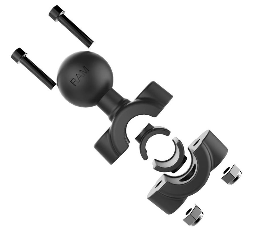 "Torque™ 3/8"" - 5/8"" Diameter Mini Rail Base with 1"" Ball and X-Grip® for 7-8"" Tablets"