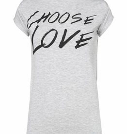 Choose Love T-shirt NIKKIE - grijs