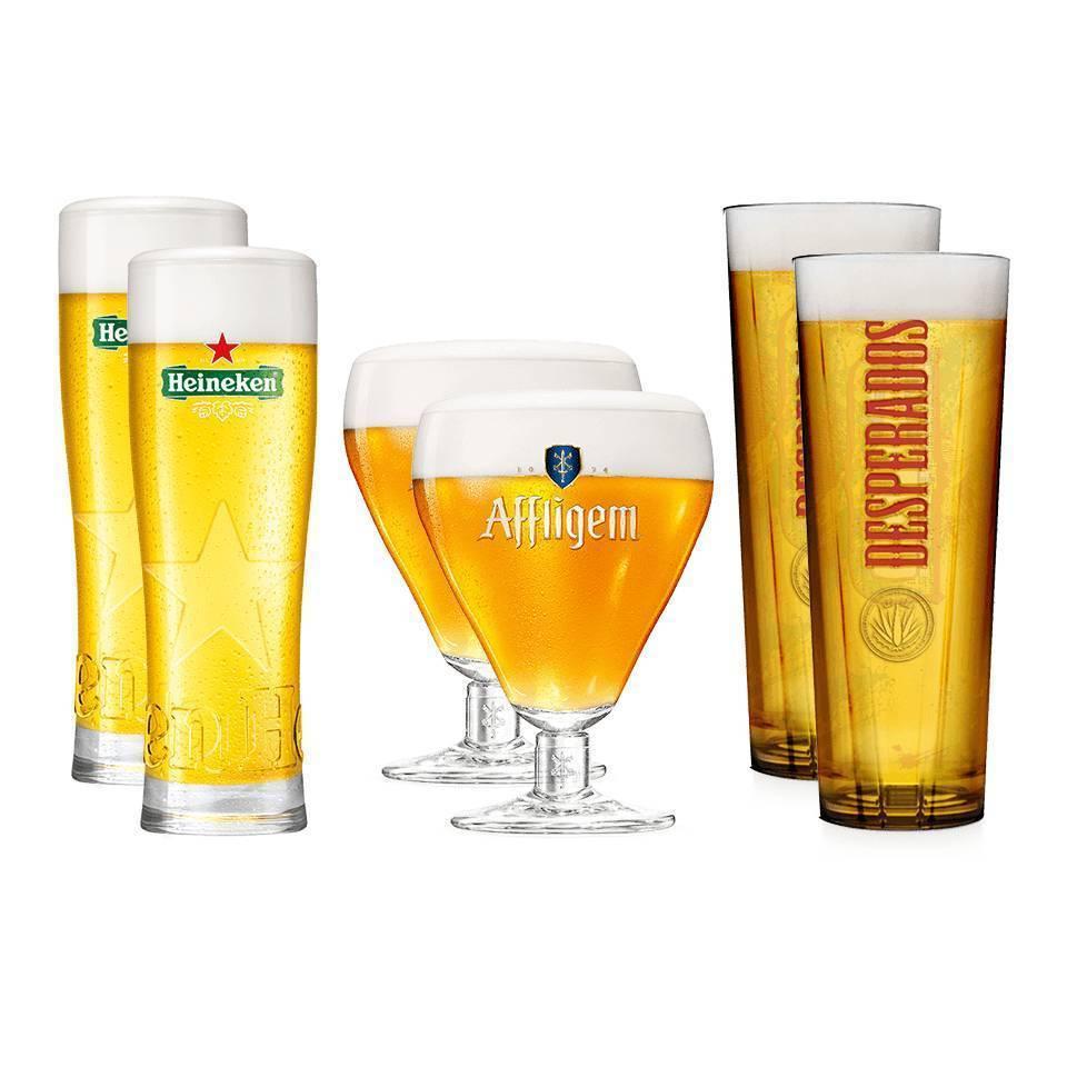 Pack de 6 vasos: 2 Heineken, 2 Desperados, 2 Aflfligem