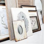 Nostalgische, brocante en landelijke spiegel hangend, handspiegel en tafelmodel