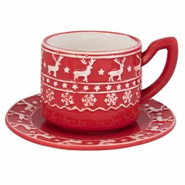 Clayre & Eef Cup and saucer Ø 15*10 cm