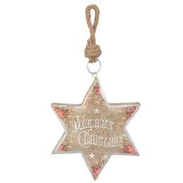 Clayre & Eef Hanger star Merry Christmas 14*2*16 cm
