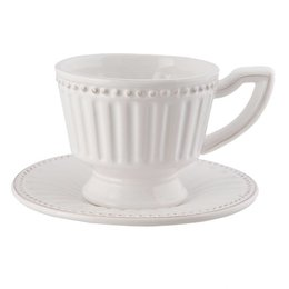 Clayre & Eef Cup and saucer 16*15*9 cm / 0.225 L