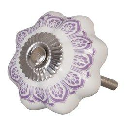 62337 - Deurknop - Doorsnede/hoogte:  4.5 cm - keramiek - aubergine