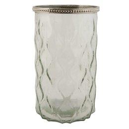 Clayre & Eef 6GL1134L - Waxinelichthouder - Doorsnede/hoogte: 12 x 19 cm - glas - Transparant