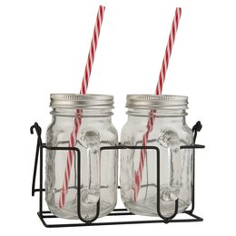 Drinking jar with straw 20*11*15 cm