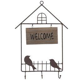 6Y1628 - Welcome bord met haakjes - 26 x 37 cm - ijzer -