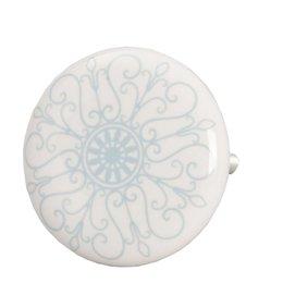 Clayre & Eef 61885 keramiek knopje blauw wit, 4 cm