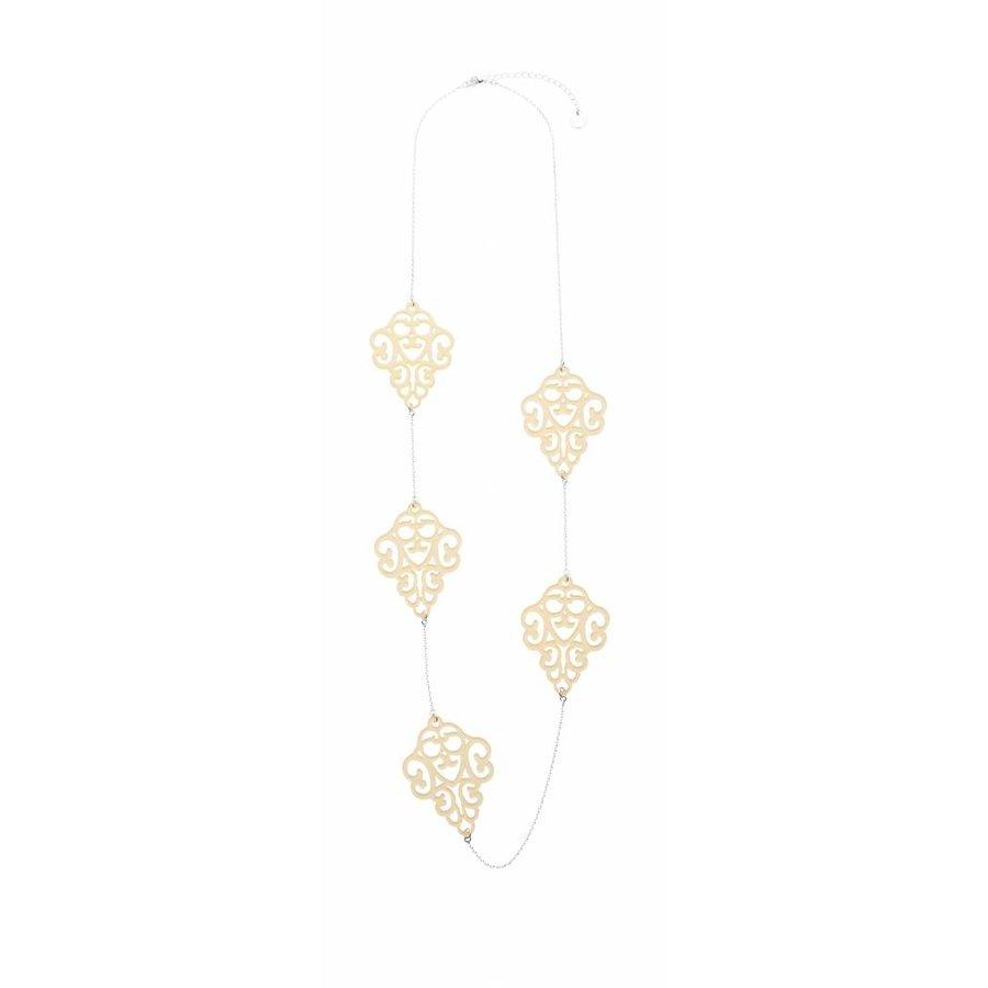 Silberfarbig/Gelb Halskette-1