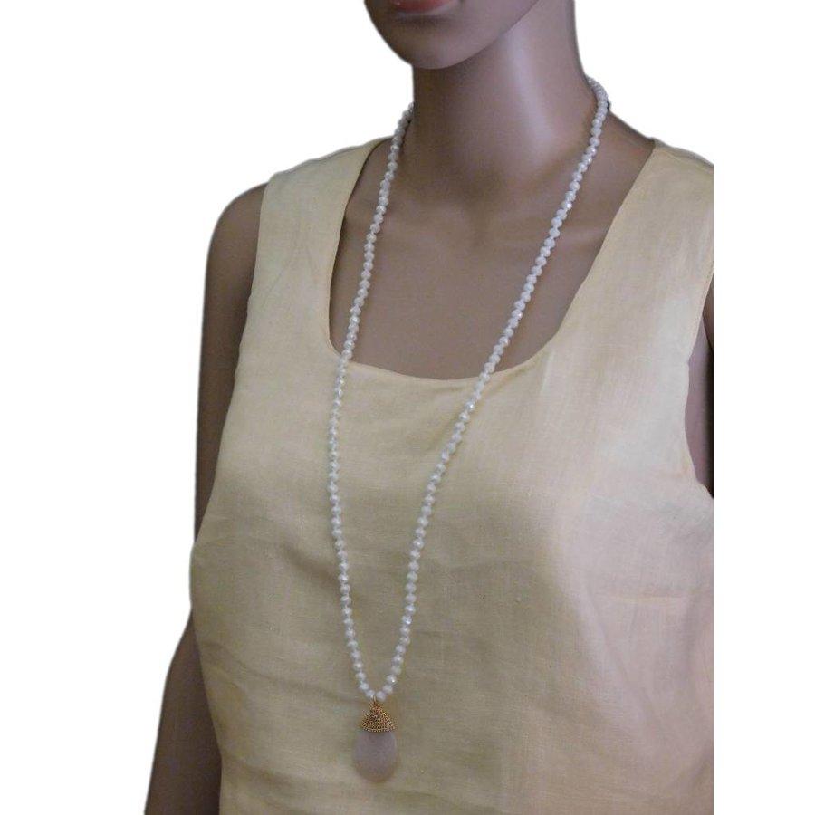 Goldfarbige/Weiße Halskette-2