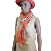 thumb-Orange Langer Blumen Schal-2