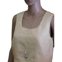 thumb-Silberfarbig/Grüne Halskette mit Feder Anhänger-2