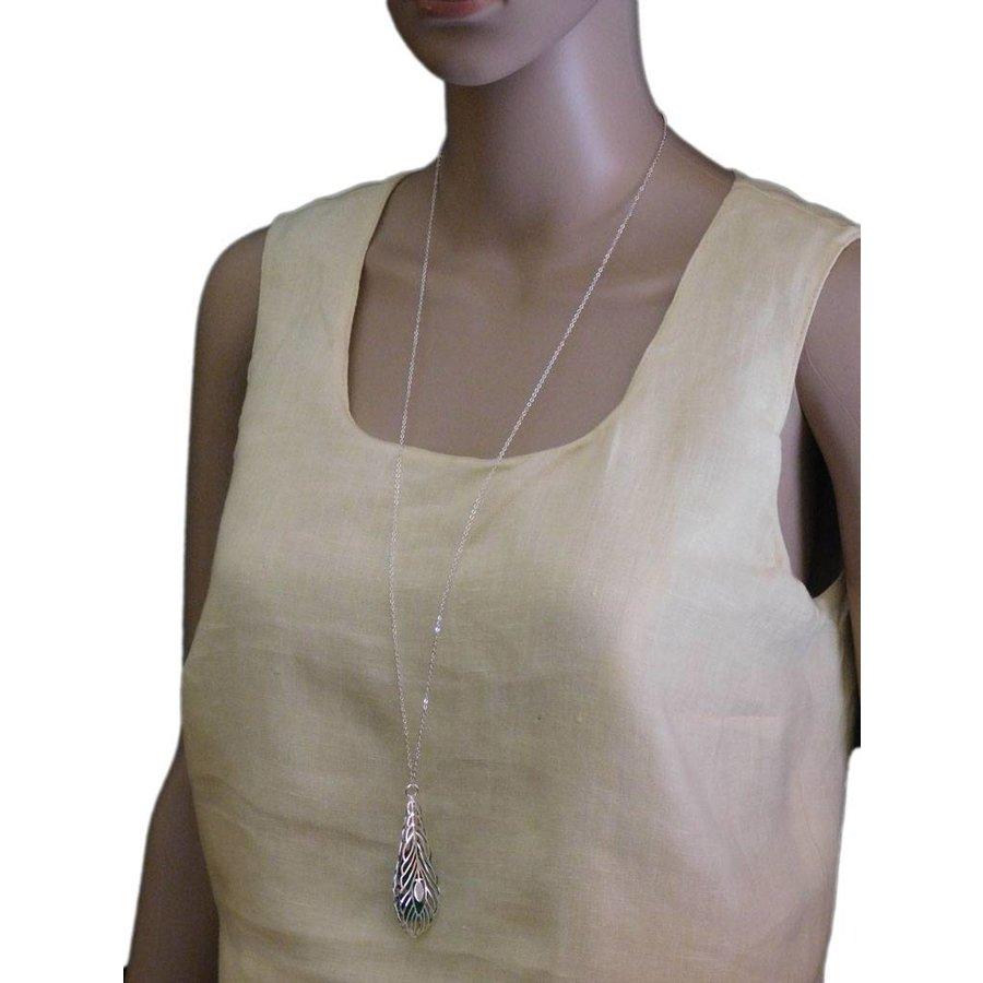 Silberfarbig/Grüne Halskette mit Feder Anhänger-2
