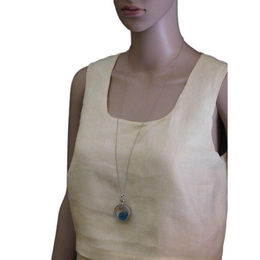 Silberfarbig/Blaue Halskette mit Trockenblumen-2