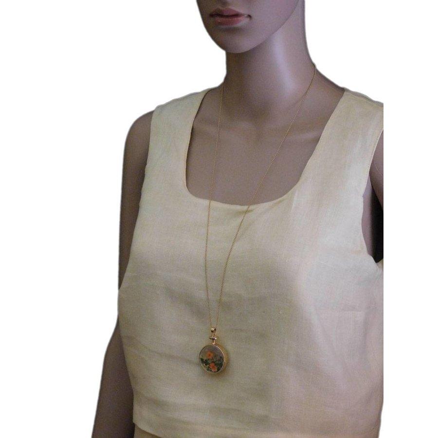 Goldfarbig, Grün, Orange Halskette mit Trockenblumen-2