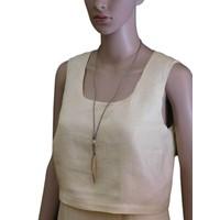 thumb-Braune/Goldfarbige Leder Halskette-2