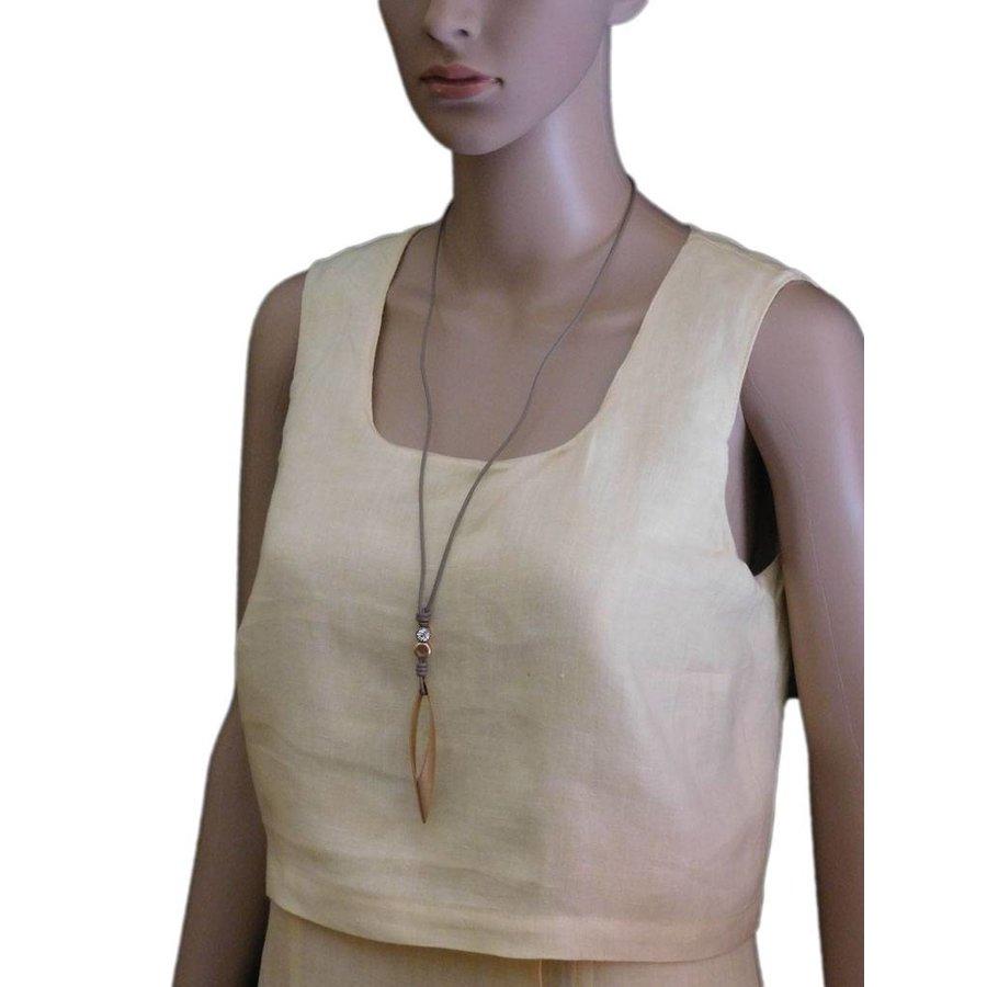 Braune/Goldfarbige Leder Halskette-2